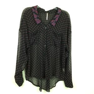 Free People Floral Collar Sheer Button-up Blouse